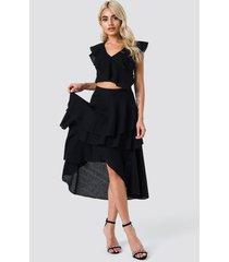 na-kd party metallic flounce skirt - black