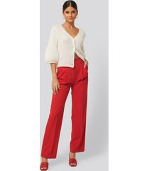 na-kd classic high waist darted pants - red