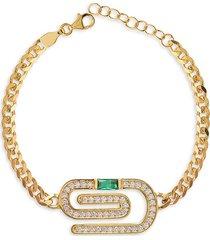 gabi rielle women's celebration emerald paper clip 14k gold vermeil & crystal bracelet