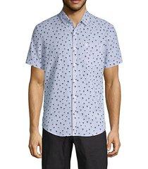 linen & cotton print short-sleeve shirt