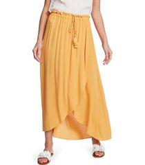 women's 1.state wrap front crinkle gauze maxi skirt, size x-large - orange