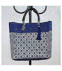 leather accented plastic tote, 'indigo dream' (mexico)