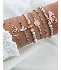 conjunto de pulsera de borla con cuentas en colores pastel