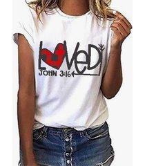 yoins plaid blanco corazón y camiseta con estampado de letras cuello camiseta de manga corta