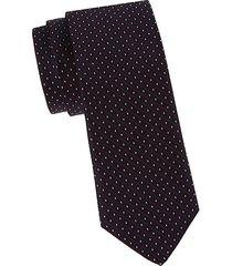 diamond-stitched silk slim tie