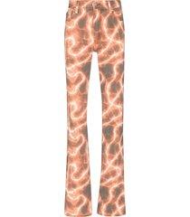 misbhv tie-dye print straight-leg jeans - orange