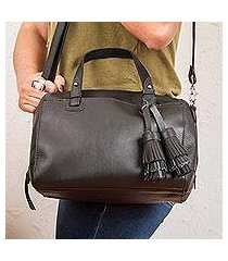 leather travel bag, 'tasseled traveler in black' (mexico)
