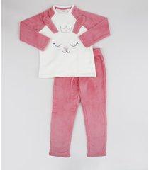 pijama de fleece infantil coelhinha manga longa rosa