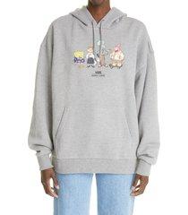 vans x sandy liang x spongebob squarepants oversize graphic hoodie, size small - grey