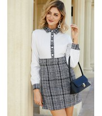 yoins botón diseño patchwork classic cuello vestido
