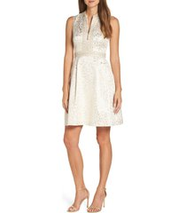women's lilly pulitzer franci fit & flare dress, size 6 - metallic