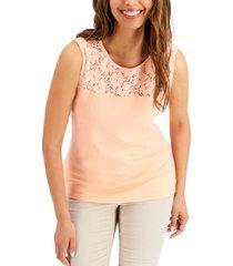karen scott cotton lace-yoke tank top, created for macy's
