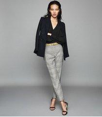 reiss deborah - checked slim leg trousers in multi, womens, size 10