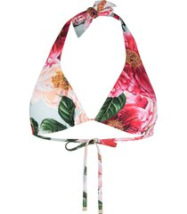 dolce & gabbana camellia print bikini top - pink
