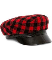 leather-accented buffalo plaid majorette hat
