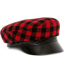 leather-accented buffalo plaid majorette hat
