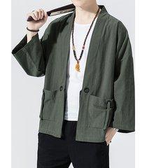 cárdigan con cordones liso con doble bolsillo retro casual para hombre