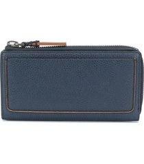 ermenegildo zegna zipped leather wallet - blue