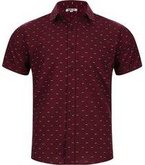 camisa para hombre estampado esqueleto peces color vino, talla xs