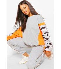 camo colour block sweater, grey marl