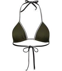 lemlem embroidered trim bikini top - green