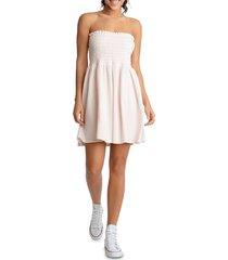 juicy couture women's heritage strapless smocked dress - bunny nose - size xs