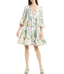 women's la doublej jennifer jane botanical print poplin babydoll dress, size x-large - white