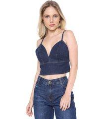 top jeans forum pesponto azul-marinho