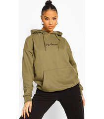 woman oversized geborduurde hoodie met tekst, khaki