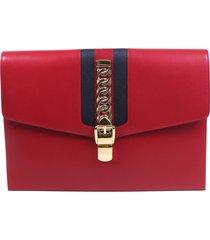gucci sylvie maxi red leather web stripe clutch bag blue/red sz: m