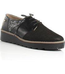 zapato de atadura negro de mujer cosmos