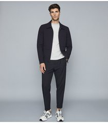 reiss mitcham - seersucker cotton-blend jacket in navy, mens, size xxl