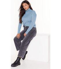 womens rubbing shoulders plus turtleneck sweater - denim-blue