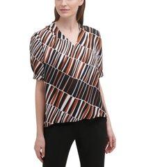 calvin klein cuffed pleated-sleeve blouse