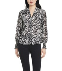 vince camuto women's petite smocked cuff animal impressions blouse