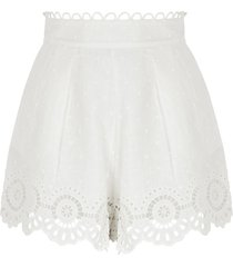 bellitude ivory embroidered linen shorts