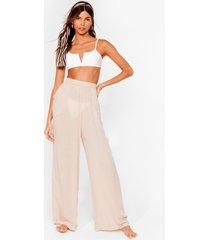 womens long time no sea cover up trousers - stone