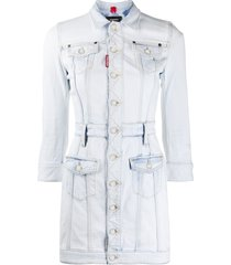 dsquared2 jacket style button front dress - blue
