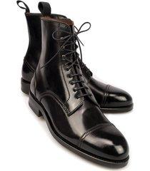 handmade men black cap toe laceup boot, men black ankle leather boots, mens boot