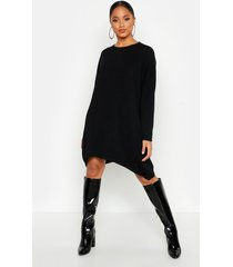 oversized boyfriend knitted dress, black