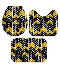kit 3 tapetes decorativos para banheiro wevans abstrato preto e amarelo