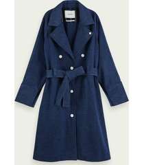 scotch & soda lange denim trenchcoat met riem