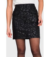 falda io animal print negro - calce ajustado