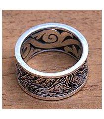 men's sterling silver band ring, 'sandstorm' (indonesia)