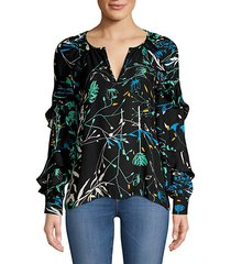 julian tiered ruffled floral silk-blend blouse
