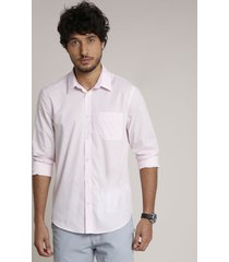 camisa masculina comfort com bolso manga longa rosa claro