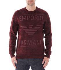 emporio armani chenille sweater maxi logo   rosso   6g1myj-1myrz348