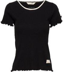 rib jersey tee t-shirts & tops short-sleeved zwart odd molly