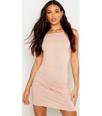 90s neck mini bodycon dress, nude