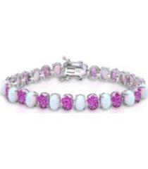 opal (9-3/4 ct. t.w), pink sapphire (5-7/8 ct. t.w.) tennis bracelet in sterling silver